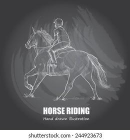 Horse Riding background Design. Hand drawn. chalkboard. vector.