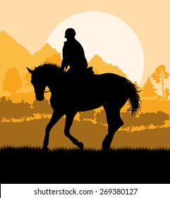 Horse riding landscape vector background freedom concept