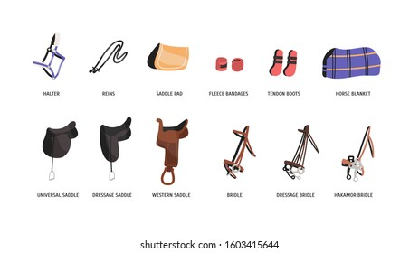 Horse riding outfitting flat vector illustrations set. Saddles, bridles and accessories. Equestrian sport attributes. Horseback riding convenience and safety facilities isolated on white background.