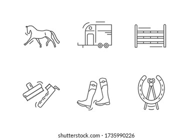 Horse riding outline icon set. Dressage horse. Horse box trailer. Show jumps. Brushes, grooming tools, hoof pick. Boots. Horseshoe nail puller, farrier tools. Flat vector equestrian yard stables icons