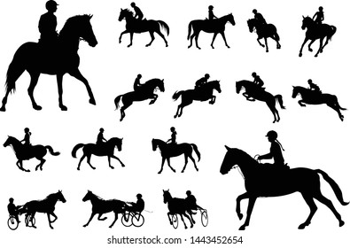 horse riding silhouettes collection. Equestrian sport and recreation silhouettes - vector