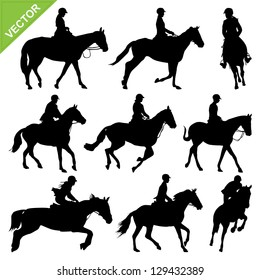Horse riding silhouettes vector collections