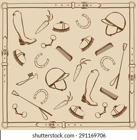 Horse riding tack. Equestrian equipment and grooming tools in leather frame, vector.