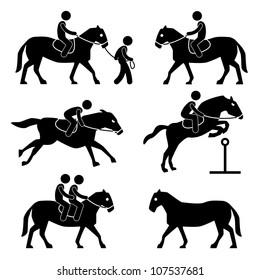 Horse Riding Training Jockey Equestrian Icon Symbol Sign Pictogram