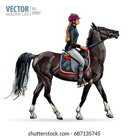 Horse riding. Woman on horse. Sport. Vector illustration.