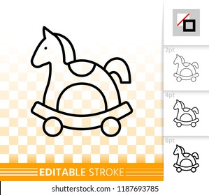 Horse Rocking thin line icon. Outline web sign of wooden toy. Pony linear pictogram different stroke width. Simple vector symbol, transparent background Horse Rocking editable stroke icon without fill