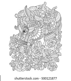 Horse in the rose garden. Zentangle stylized cartoon isolated on white background. Hand drawn sketch illustration for adult coloring book, T-shirt emblem, logo or tattoo, zentangle design elements.