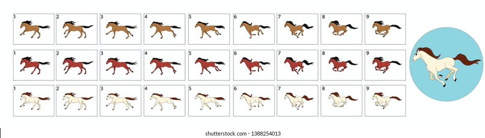 Horse Run Cycle Animation. Horse walk cycle. Horse race sprite sheet for video games, cartoon or animation. Hand drawn horse Illustration.-Vector