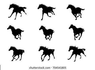 Horse run cycle sprite sheet
