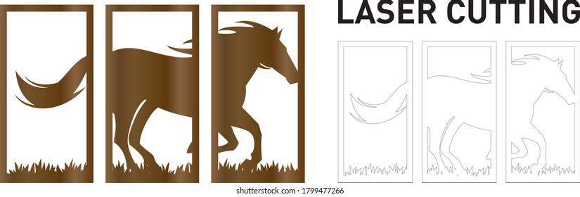 horse running in grass field, 3 panels wall art frame laser cutting template