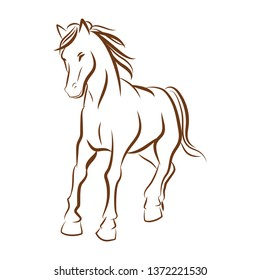 horse running line drawing