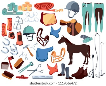 Horse set, equestrian ammunition, ammunition, horseback riding, equestrian sport, horse racing, speed. Horse, gallop, lynx. Modern vector flat design image isolated on white background.