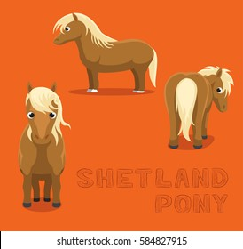 Horse Shetland Pony Cartoon Vector Illustration