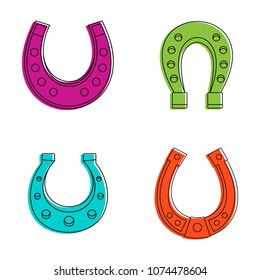 Horse shoe icon set. Color outline set of horse shoe vector icons for web design isolated on white background