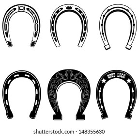Horse shoe Set. Lucky steel horseshoes vector set isolated on white background.