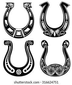 Horse shoe Set. Lucky steel horseshoes vector set