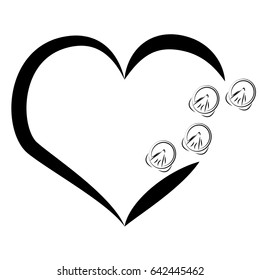 Horse shoes with heart on white background. Vector illustration.