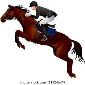 Horse Show jumping, horse and rider in uniform jumping over fence vector illustration, Equestrian sport