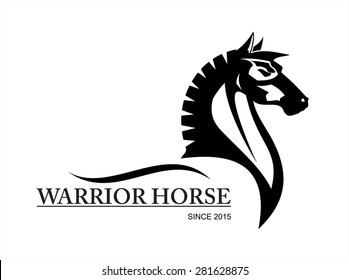 horse. side view of Elegant black horse.symbolizing power, dignity, etc.Suitable for team Mascot ,community identity, product identity, corporate identity, illustration for apparel,clothing, etc