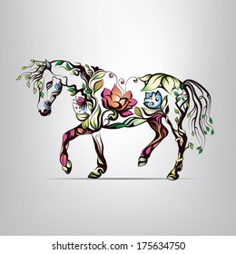 Horse silhouette of floral ornament