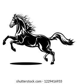horse silhouette mascot illustrations, with black color