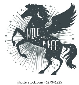 Horse silhouette with wings, stars, moon and text. Inspirational, mystic, fantasy, tattoo art. Abstact poster or prints on t-shirts and bags. Vector Illustration pegasus