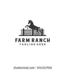 Horse silhouette wooden fence paddock for vintage retro rustic countryside western country farm ranch logo design