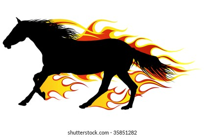 Horse silhouettes with flame tongues. Vector illustration.