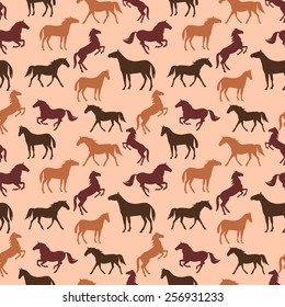 Horse silhouettes seamless brown pattern. Vector illustration