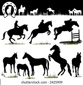 Horse Silhouettes - Vector. Easy Change Colors... (Check out my portfolio for other silhouettes)