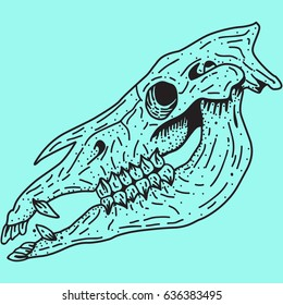 horse Skull of an animal on a blue background, for printing on a T-shirt, element of design, stamp stickers, banner on the site, logo of the tattoo salon,  graphics, vector image, dots art