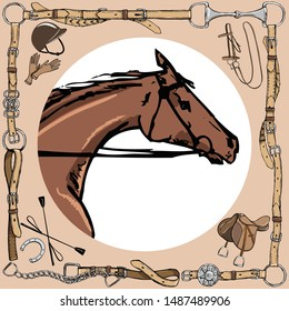 Horse snout in leather belt frame. English equestrian sport style with bit, bridle, saddle, helmet, gloves, whip. Equine vector hand drawn vintage art like silk scarf.