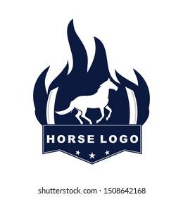 horse sport inside flaming badge vector logo design template