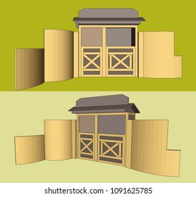 Horse Stable in farm, Vector & Illustration