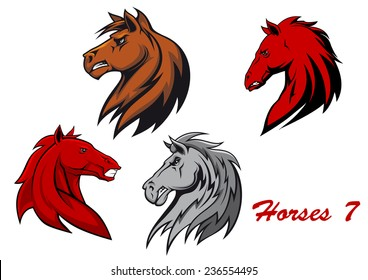 Horse stallions cartoon characters for equestrian sports and mascot or tattoo design