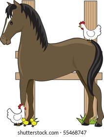 A horse standing by a fence in the shape of an H. There are chickens sitting by the fence