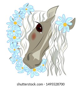 Horse, stylized portrait of a horse in a wreath of daisies, vector illustration