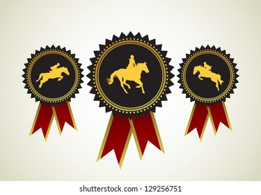 Horse Symbol Award Rosette Red Ribbon Icon Set