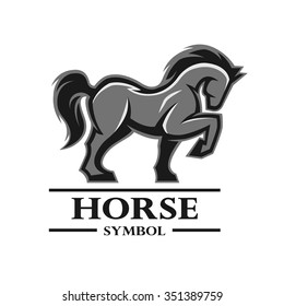 Horse symbol, logo, labels, and other design. Artistic silhouette of animals.