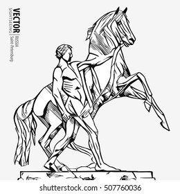 """Horse Tamer"". Sculpture of the 19th century on the Anichkov Bridge. The sculptor Klodt. St. Petersburg Attraction. Russia. Isolated vector illustration."