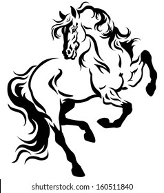 horse tattoo black and white illustration