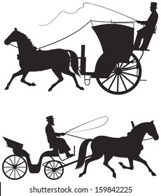 Horse taxicab vector silhouettes, hansom cab, historical landmark of the London and New York City, Horse cart, izvozchik, public carriages used in Moscow, Saint Petersburg, Kiev, Odessa, Warsaw