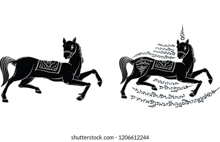 horse in Thai tradition painting,Thai tattoo, vector