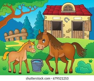 Horse topic image 6 - eps10 vector illustration.
