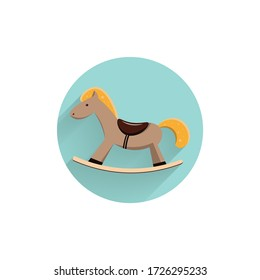 horse toy colorful flat icon with long shadow. horse toy flat icon