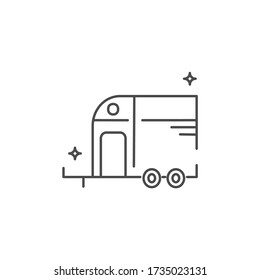 Horse trailer icon in flat style. Caravan for competition travels.