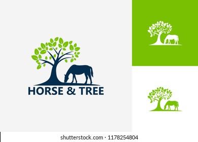 Horse And Tree Logo Template Design Vector, Emblem, Design Concept, Creative Symbol, Icon