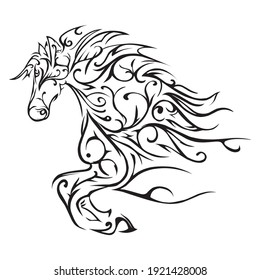 horse tribal tattoo cool vektor design