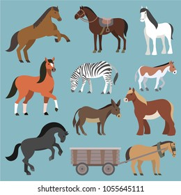 Horse vector animal of horse-breeding or equestrian and horsey or equine stallion illustration animalistic horsy set of pony zebra and donkey character isolated on background