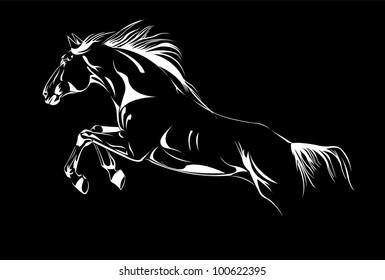 horse vector jump on black